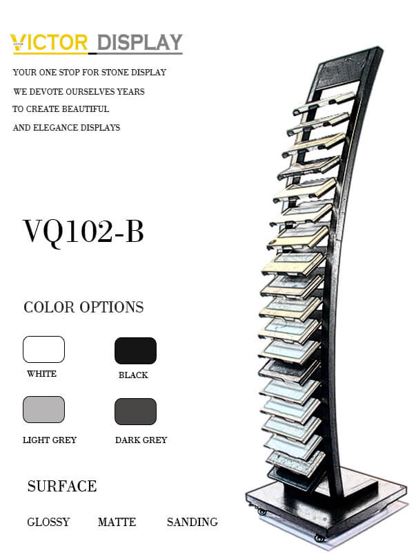 This metal display stand for stone VQ102-B holds variety of stone colors